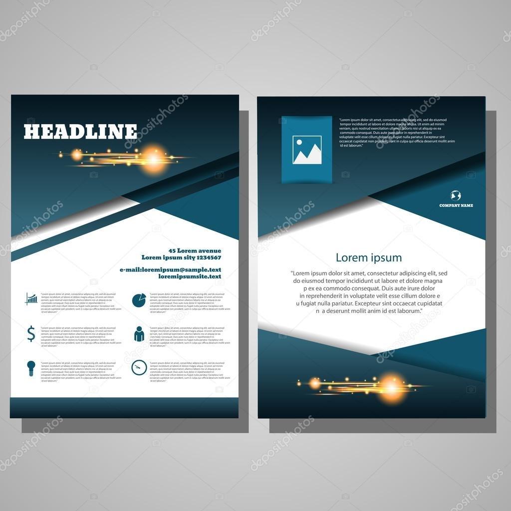 Brochure Blue Flyer Design Layout Template Infographic Vector E With E Brochure Design Templates