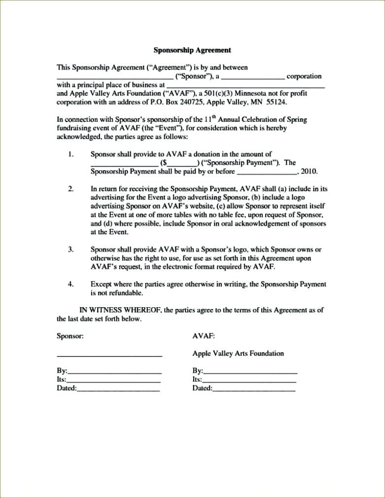 Bunch Ideas For Event Sponsorship Agreement Template About Proposal Regarding Fiscal Sponsorship Agreement Template