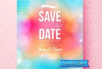 Bunte Save The Datevorlage Texturierte Mit Punkten — Stockvektor with Save The Date Banner Template