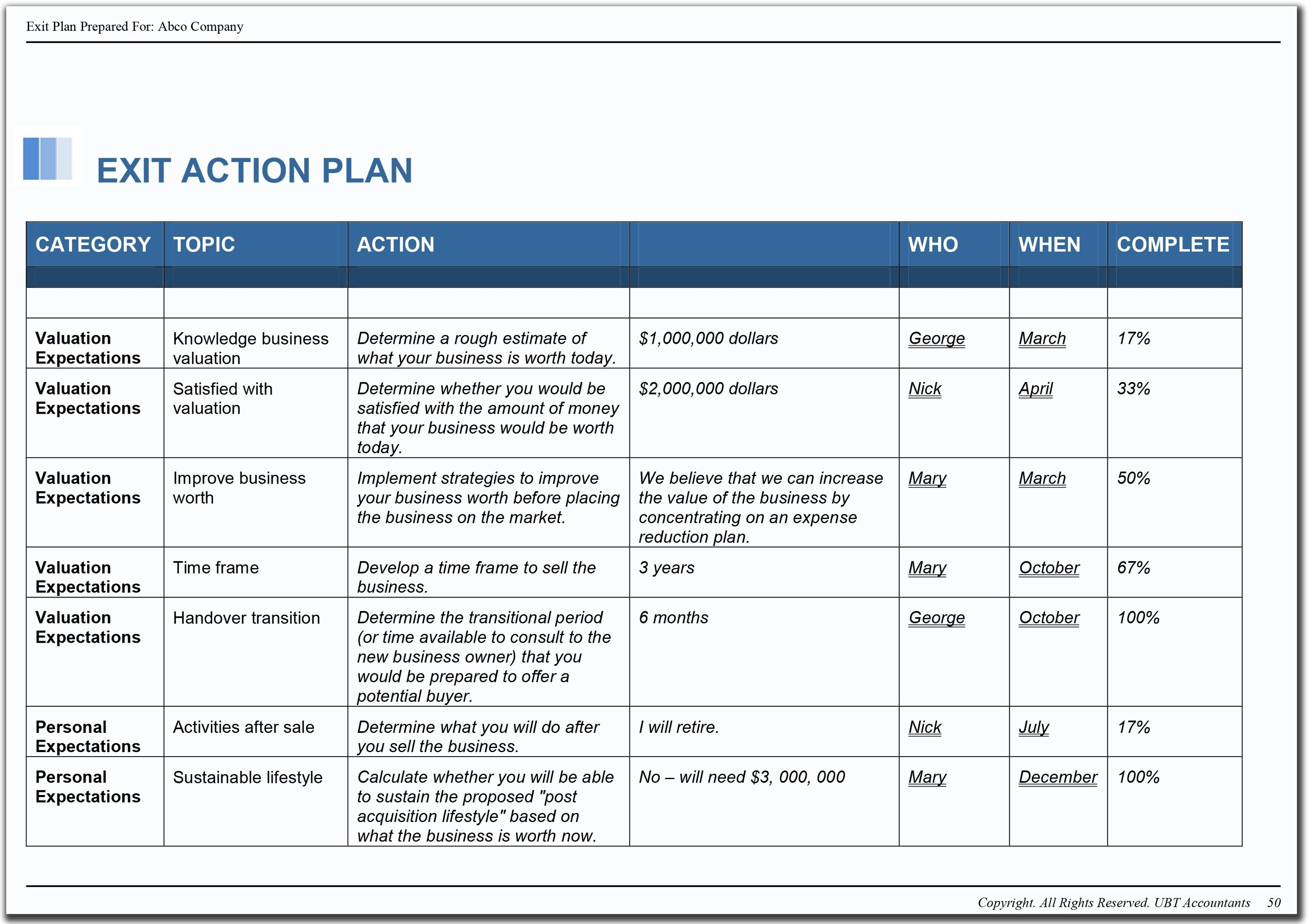 Business Action Plan Sample Planning Template Example Plans For Intended For Customer Service Business Plan Template