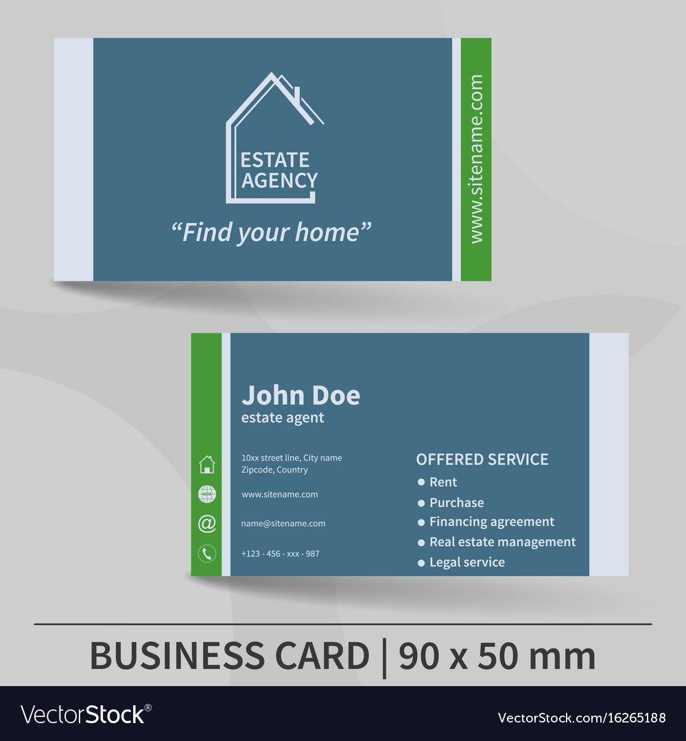 Business Card Template Real Estate Agency Design Vector Image Within Real Estate Agent Business Card Template