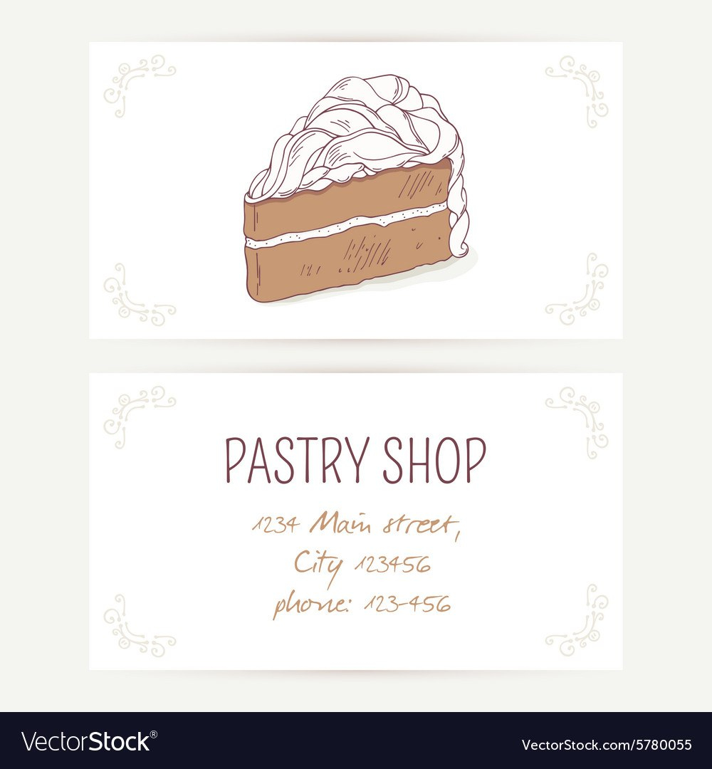 Business Card Template With Chocolate Cake Vector Image Throughout Cake Business Cards Templates Free