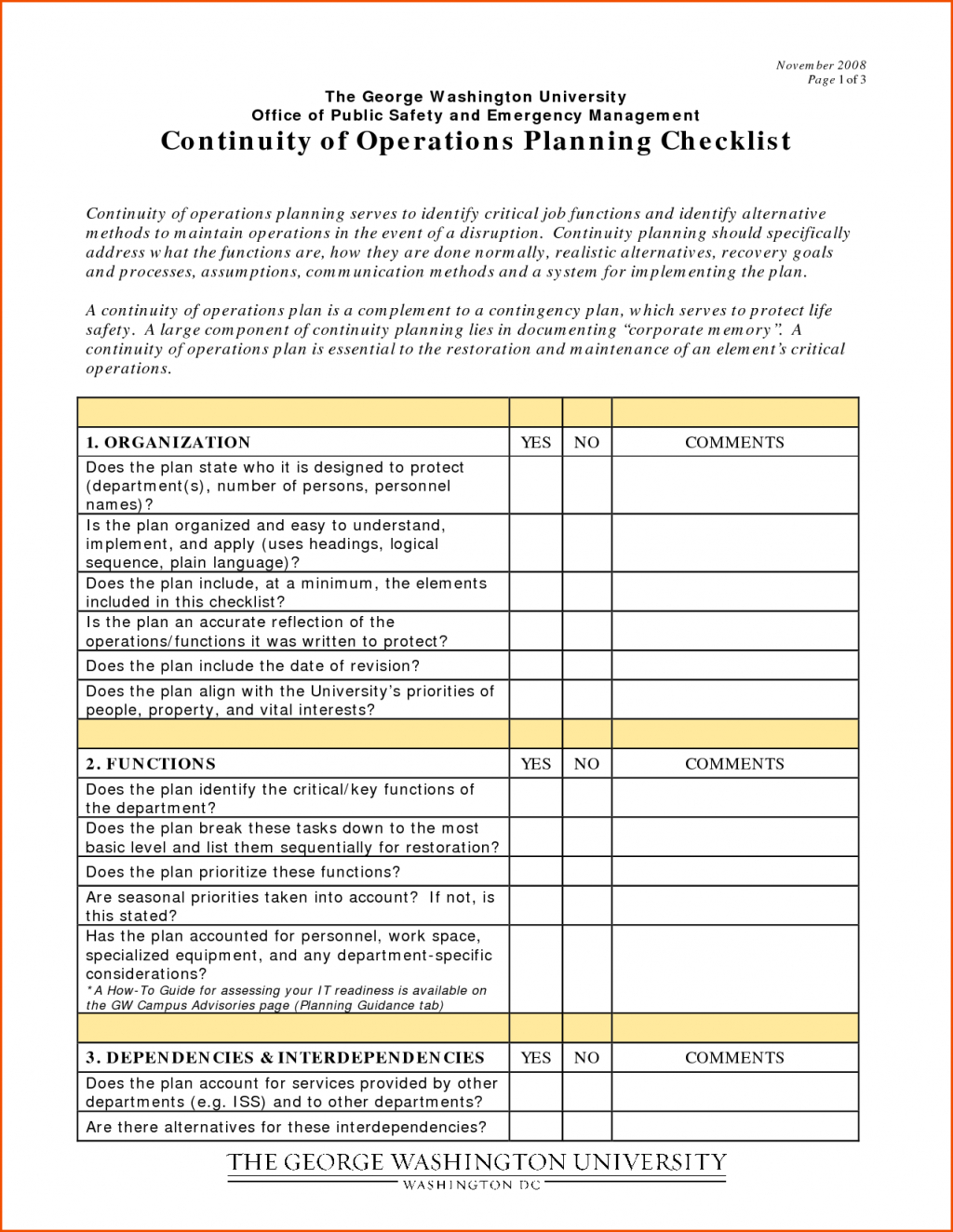 Business Continuity Plan Testing Ecklist Template Development Pdf Inside Business Continuity Checklist Template