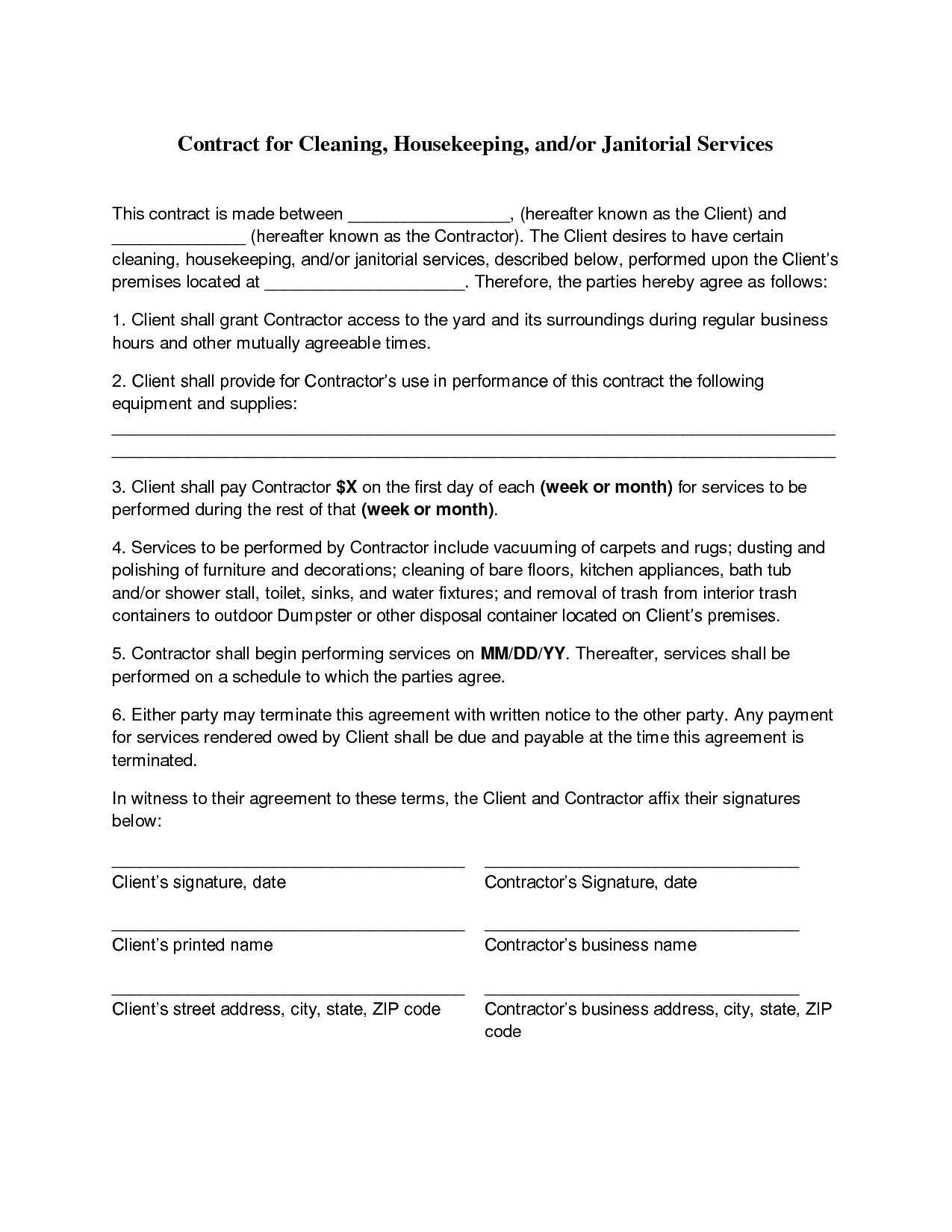 Business Contract Checklist Sale Of Review Cleaning Agreement Pertaining To Free Commercial Cleaning Contract Templates