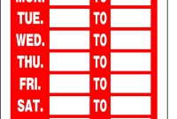 Business Hours Sign Word Template – Kerren throughout Printable Business Hours Sign Template