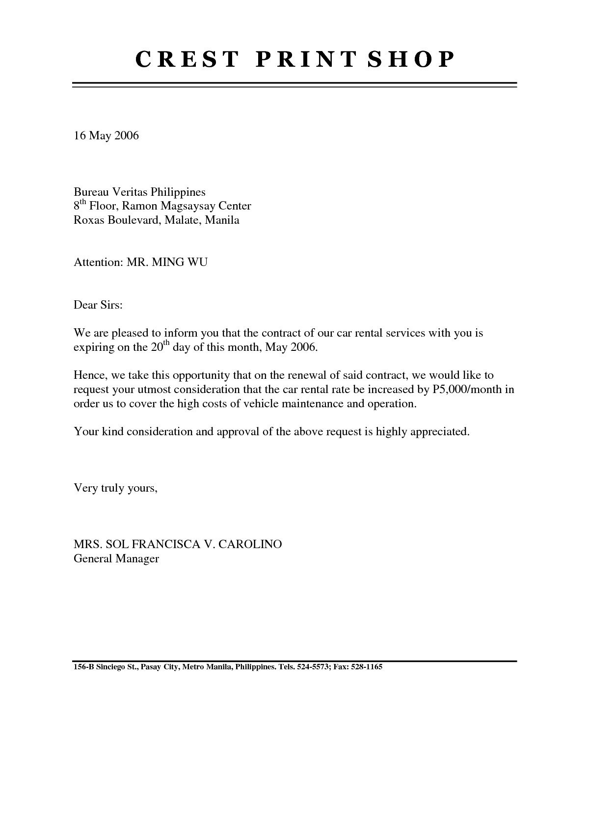 Business Lease Proposal Template Valid Lease Renewal Letter Within Business Lease Proposal Template