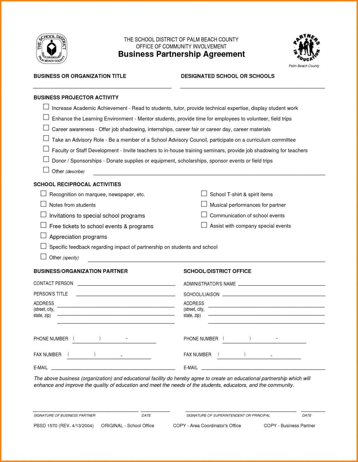 Business Partnership Contract Template Free  Caquetapositivo With Regard To Business Partnership Contract Template Free