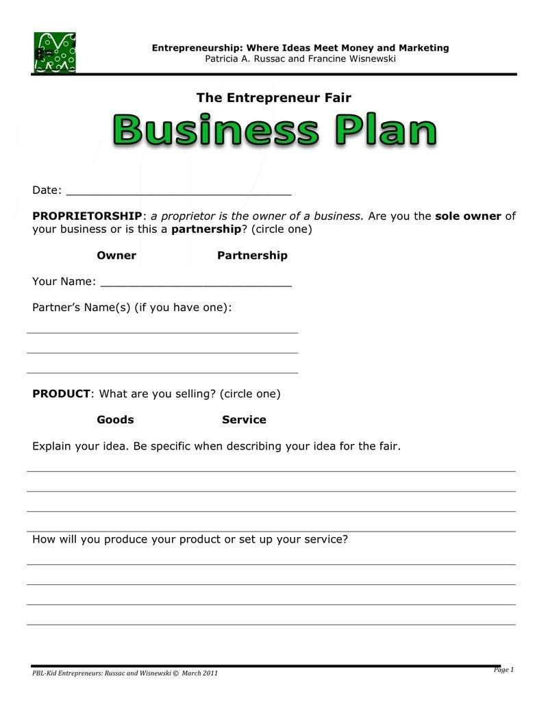 Business Plan  Business Plan Template  One Page Business Plan Pertaining To Partner Business Plan Template
