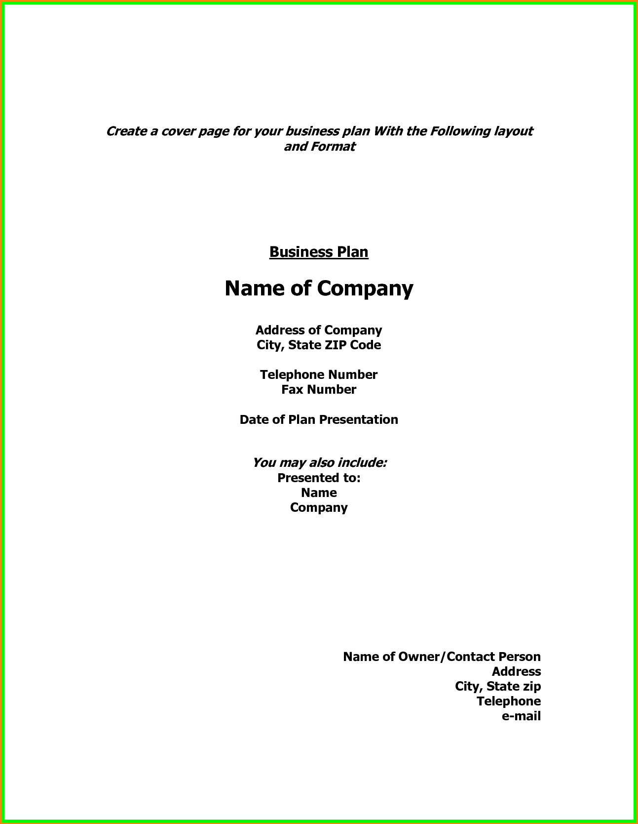 Business Plan R Page Template Doc Example Pdf Word Layout Front With Business Plan Cover Page Template