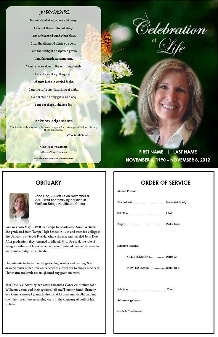 Butterfly Memorial Program  Memorials  Funeral Memorial Funeral Within Memorial Brochure Template
