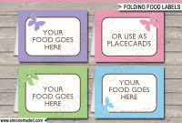 Butterfly Party Food Labels  Place Cards  Printable  Editable within Food Label Template For Party