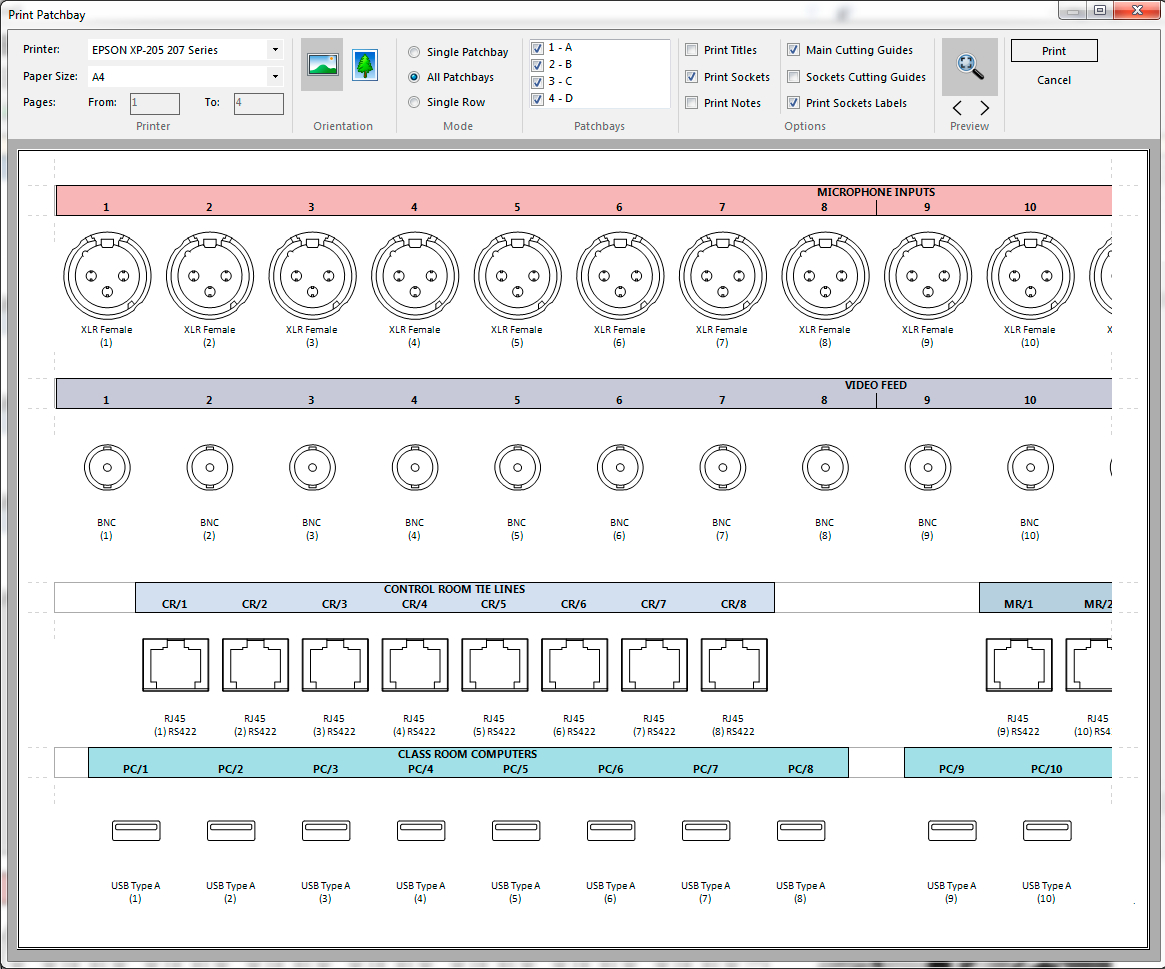 Buy Patchcad Patchbay Design And Labelling Software Throughout Adc Video Patch Panel Label Template