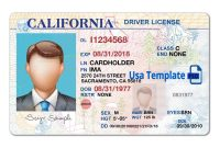 California Driver License Template Open California Psd File With in Blank Drivers License Template