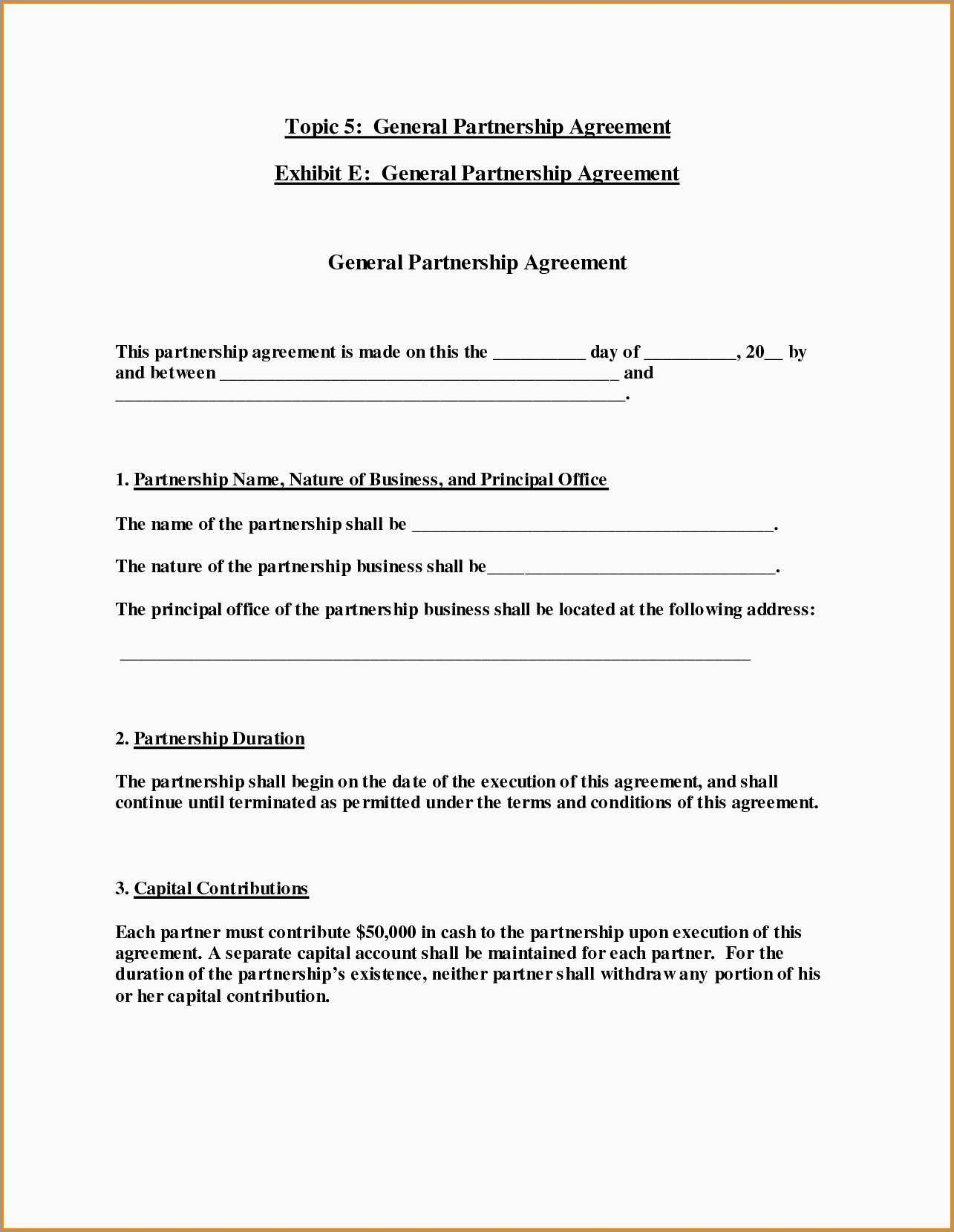 California General Partnership Agreement Template Free Inspirational Throughout Free Simple General Partnership Agreement Template