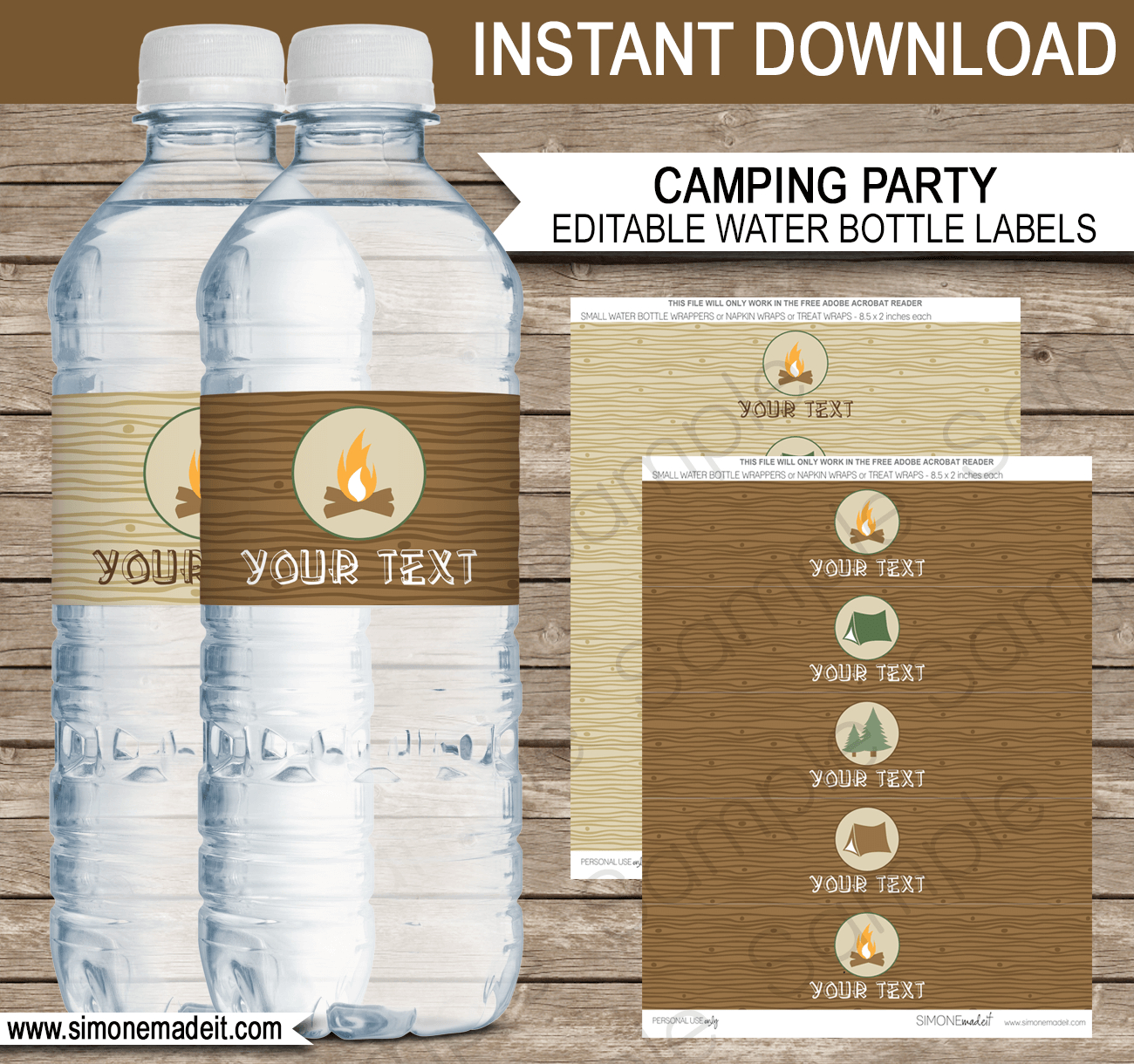 Camping Party Water Bottle Labels  Editable Template With Template For Bottle Labels