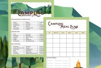 Camping Printables  Packing List And Meal Planner with Camping Menu Planner Template