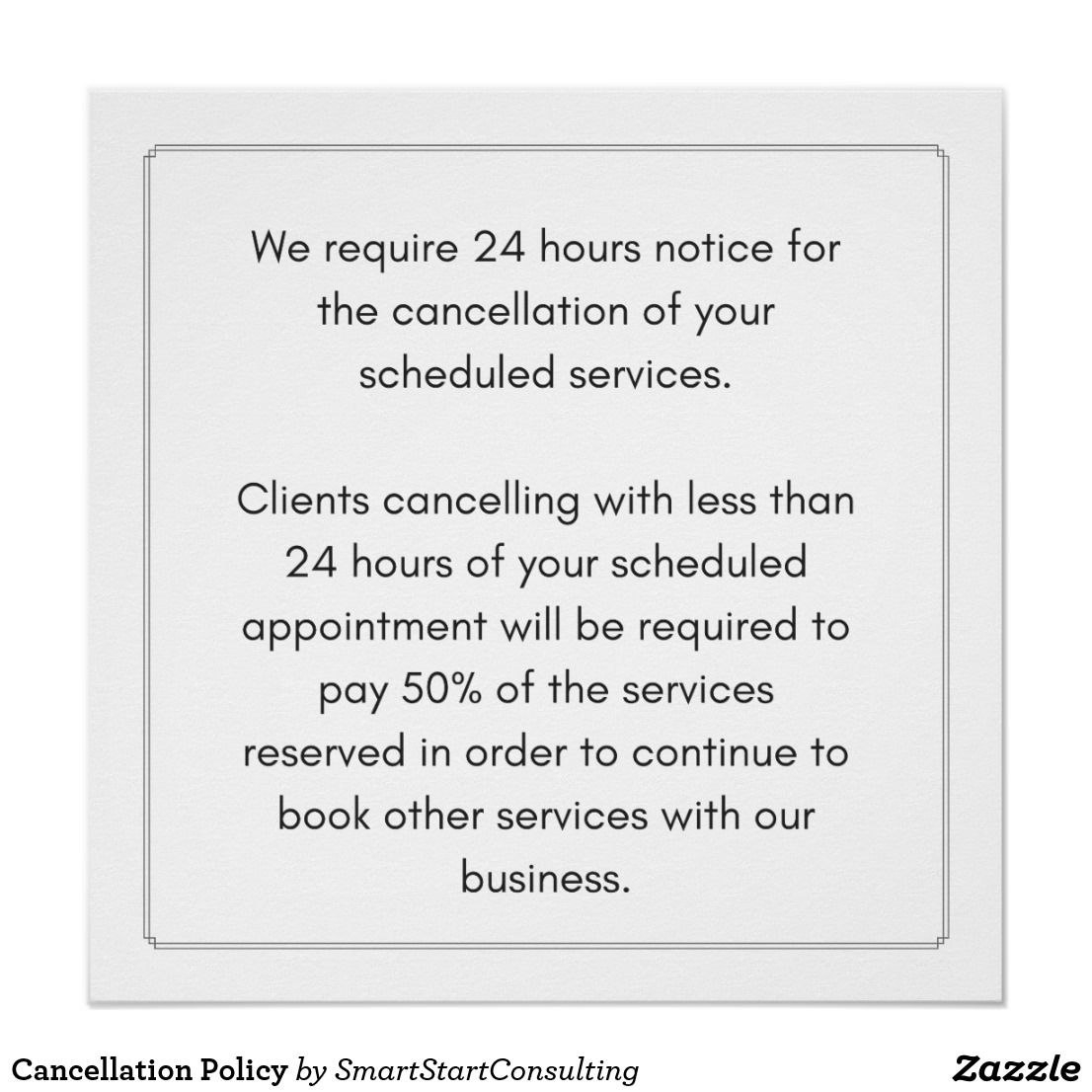 Cancellation Policy Poster More Styles Available Ad Business Spa Throughout Massage Cancellation Policy Template