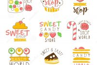 Candy Shop Promo Signs Series Of Colorful Vector Design Templates in Sweet Labels Template