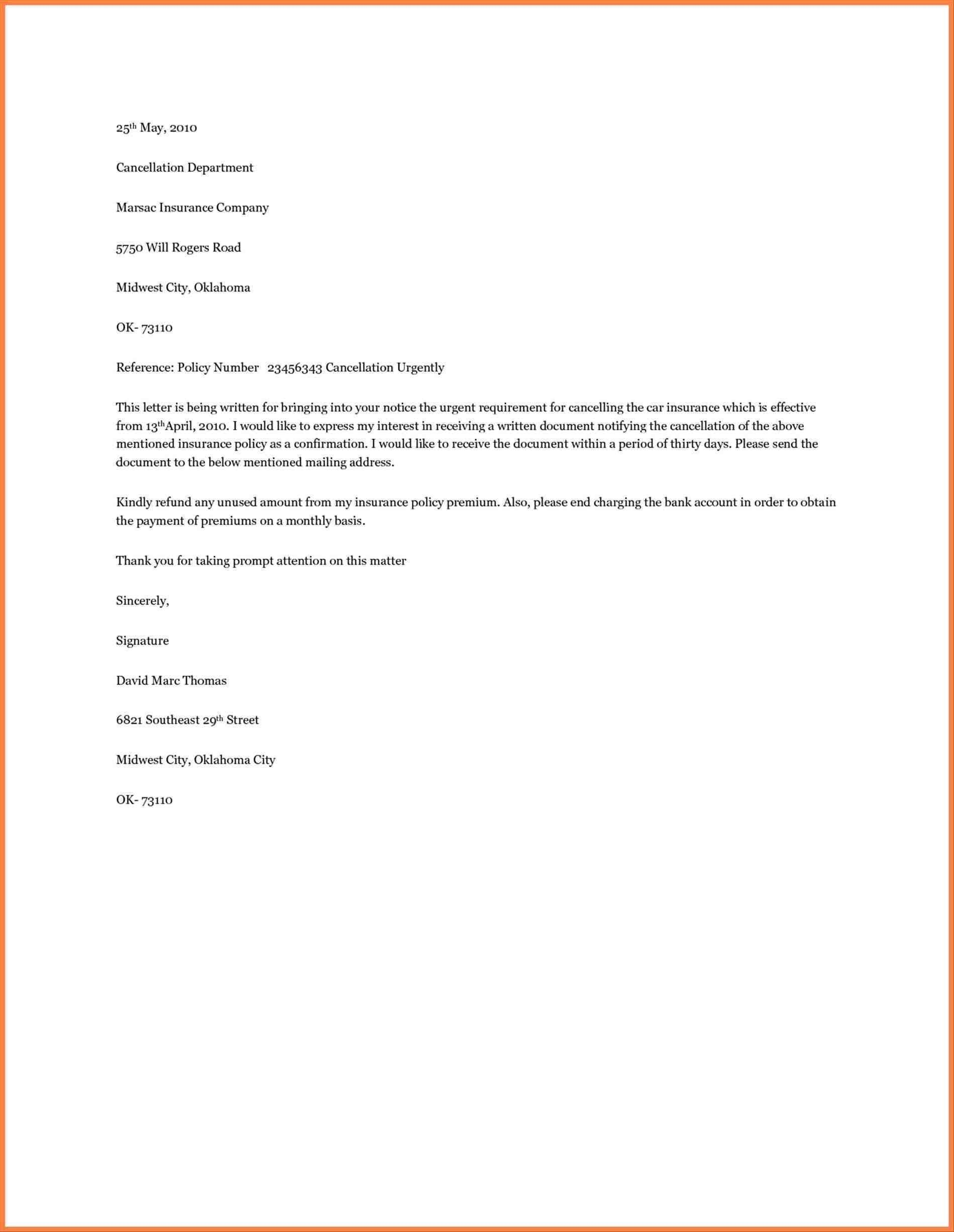 Car Insurance Cancellation Letter Template Gallery Within Booking Cancellation Policy Template
