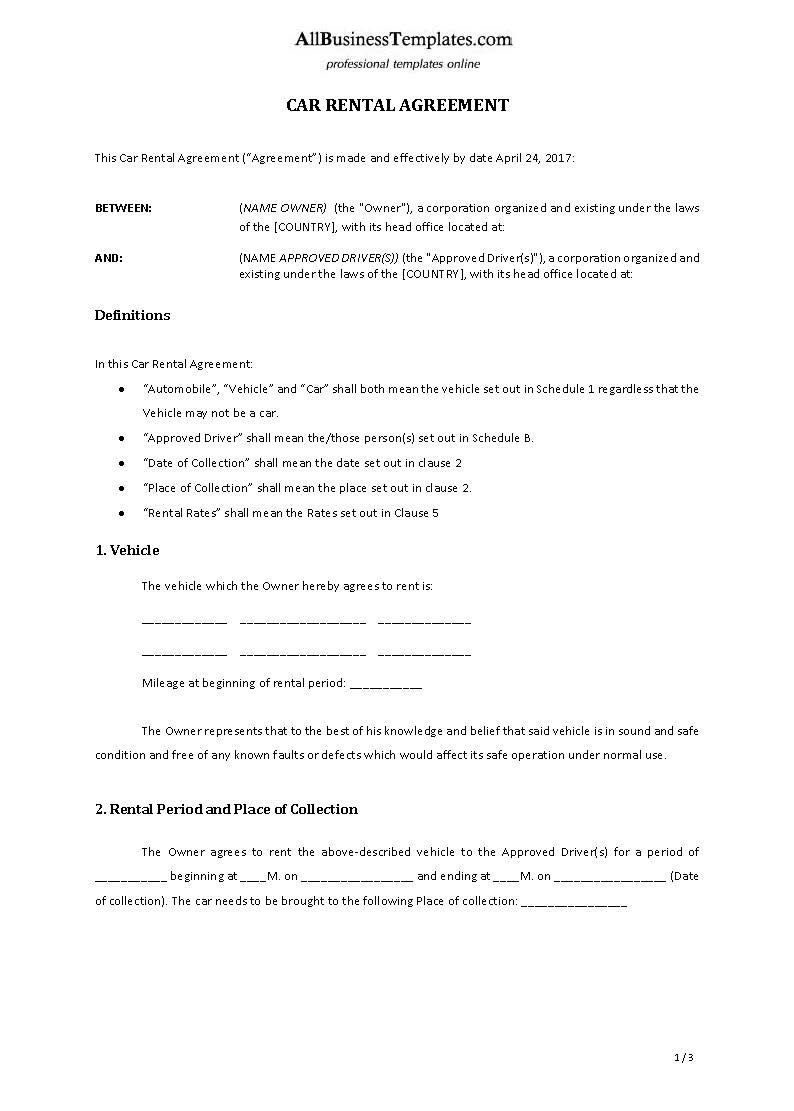 Car Rental Agreement Template  Download This Car Rental Template With Car Hire Agreement Template