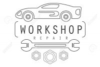 Car Repair Workshop Black And White Label Design Template With for Black And White Label Templates