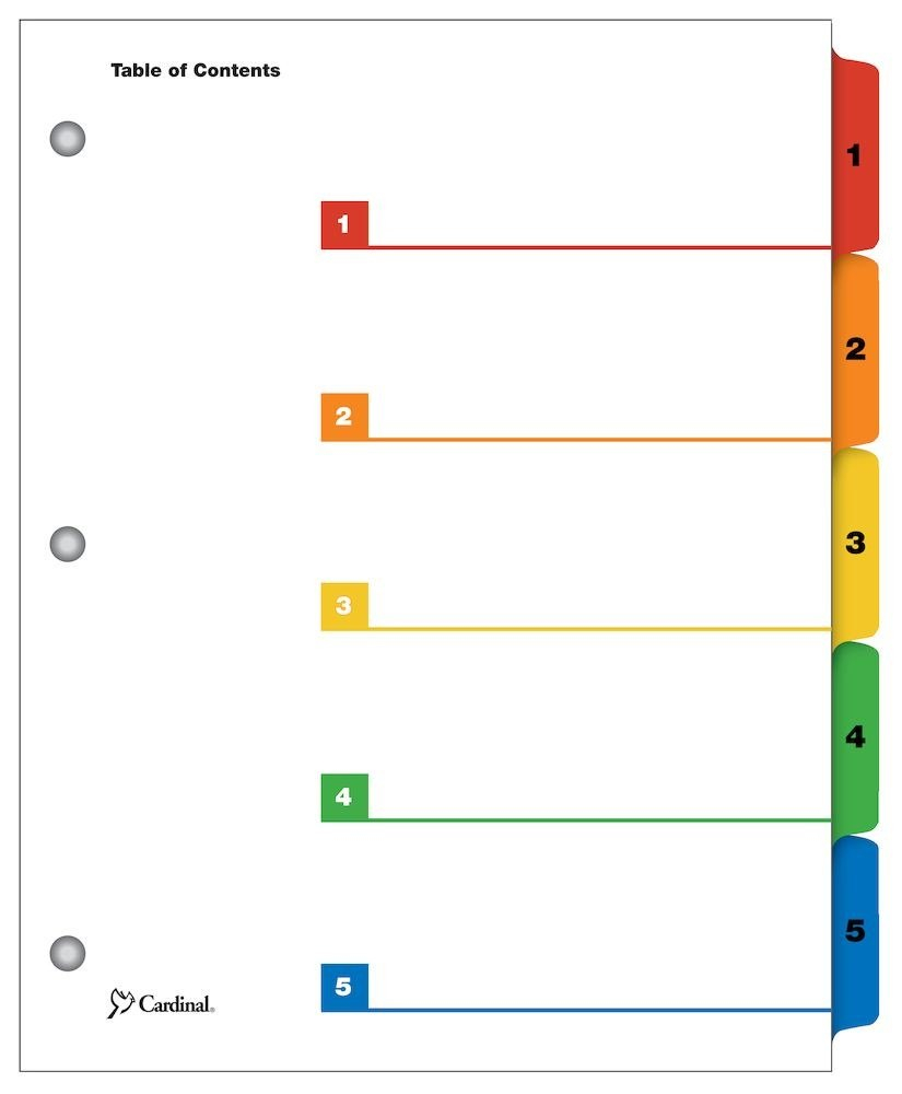 Cardinal Onestep Printable Table Of Contents Dividers  Tab Multicolor Intended For Blank Table Of Contents Template Pdf