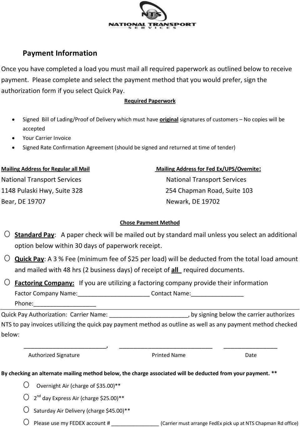 Carrier Packet Requirements  Pdf Within Load Confirmation And Rate Agreement Template