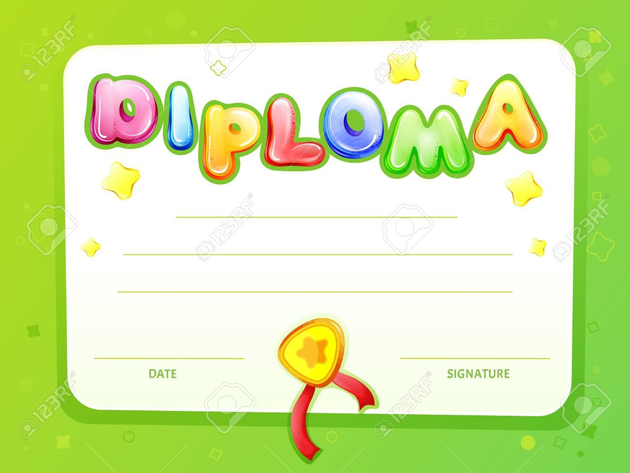 Cartoon Kids Certificate Diploma Template Children Achievement With Regard To Certificate Of Achievement Template For Kids