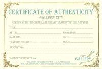 Certificate Authenticity Template Art Authenticity Certificate pertaining to Certificate Of Authenticity Template