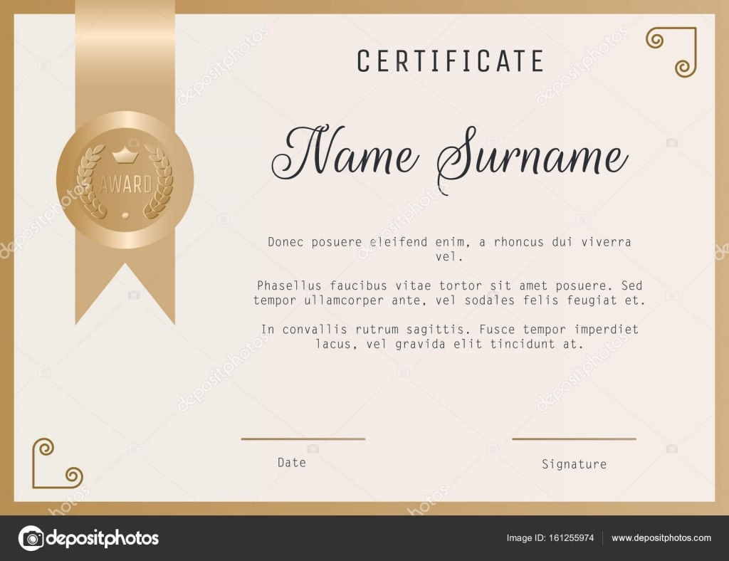 Certificate Award Template Vector Blank In Gold Colors — Stock Within Template For Certificate Of Award
