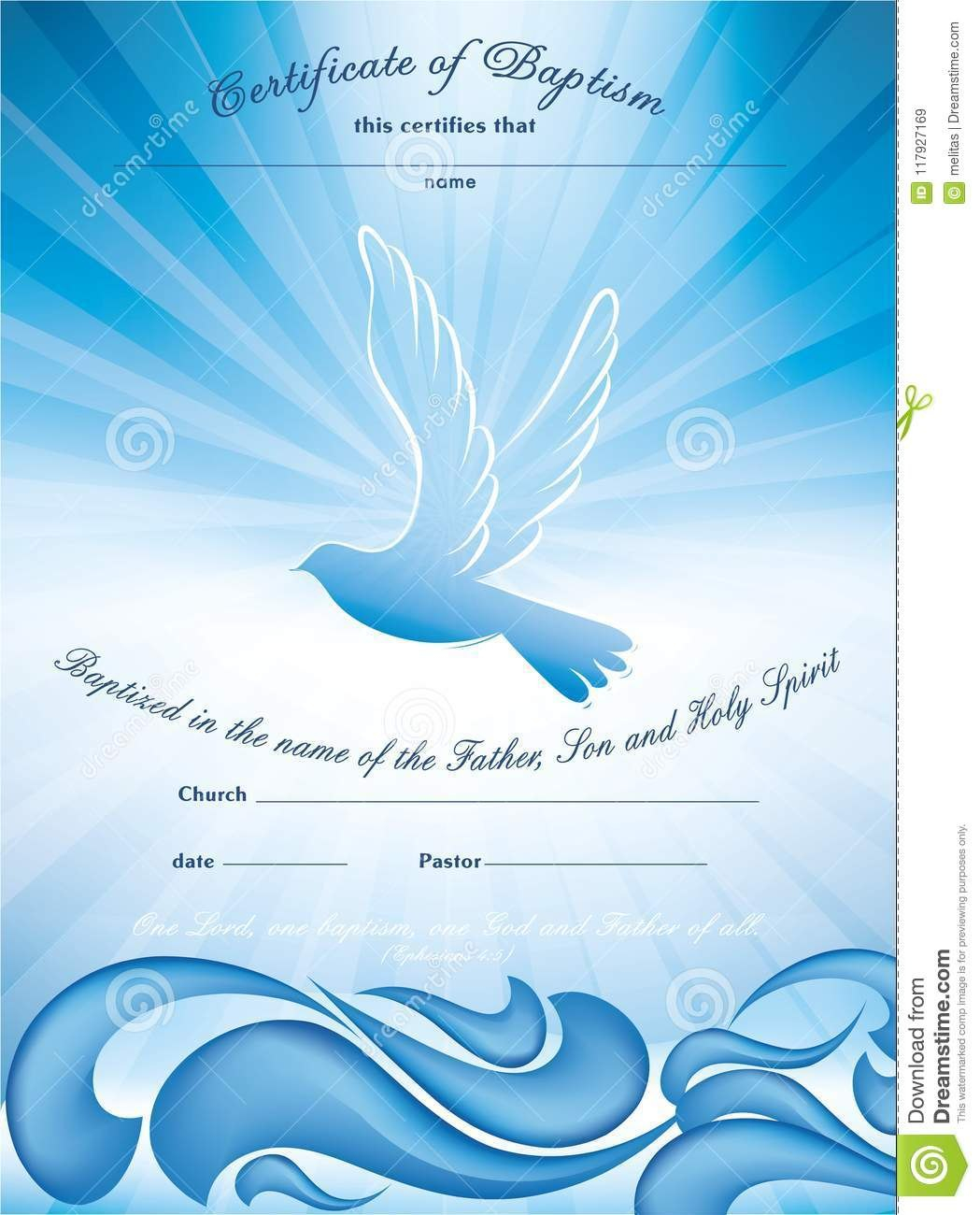 Certificate Baptism Template With Waves Of Water And Dove Multiple Intended For Christian Baptism Certificate Template