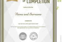 Certificate Completion Template Portrait Brown Green for Certificate Of Completion Template Free Printable