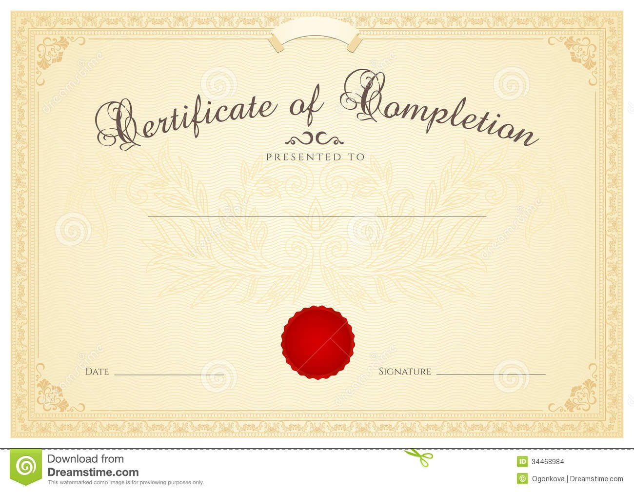 Certificate  Diploma Background Template Floral Stock Vector Throughout Certificate Scroll Template