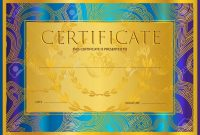 Certificate Diploma Golden Design Template Colorful Background with Certificate Scroll Template