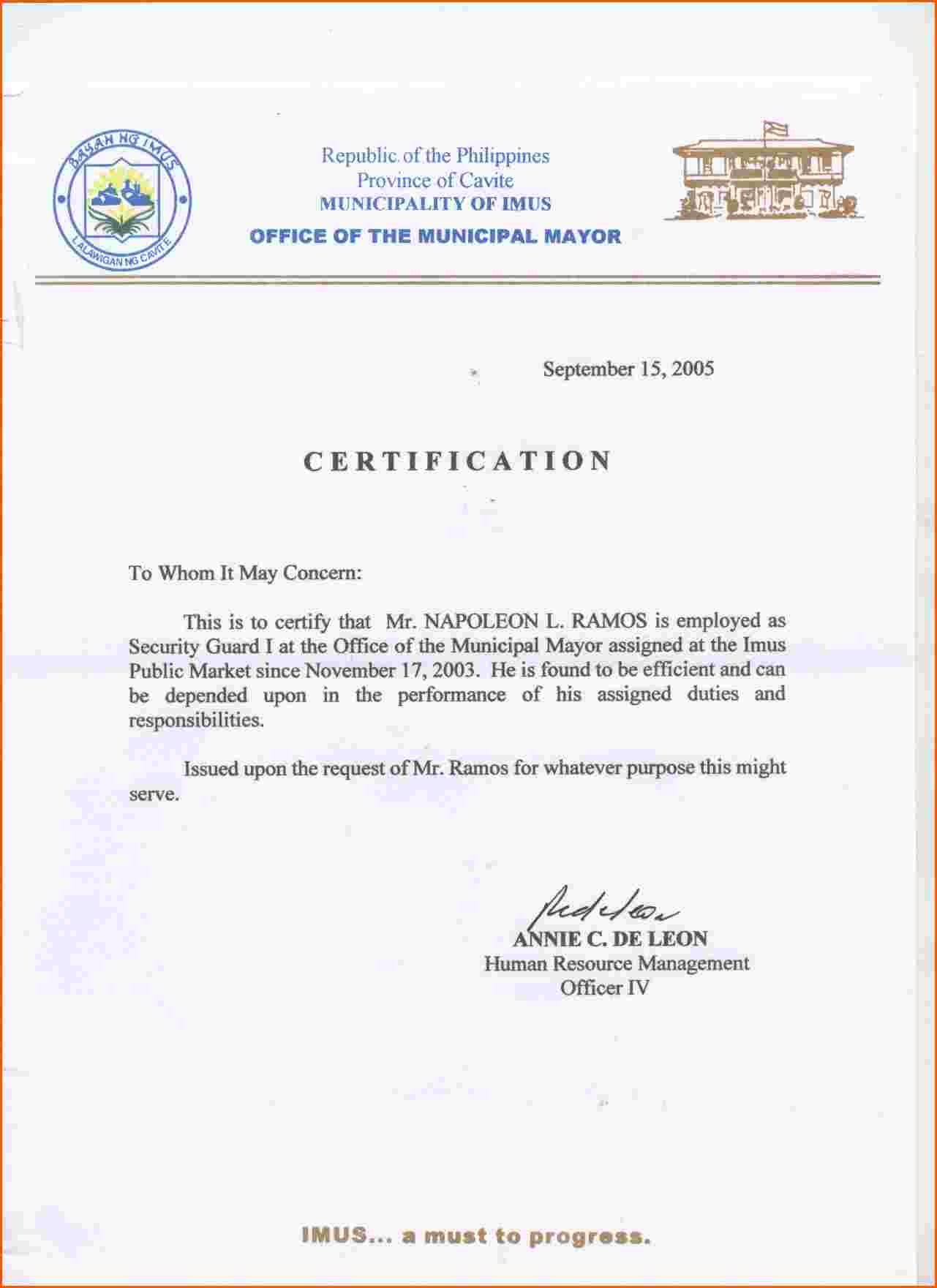 Certificate Employment Sample Format New Certificate Of Employment In Certificate Of Employment Template