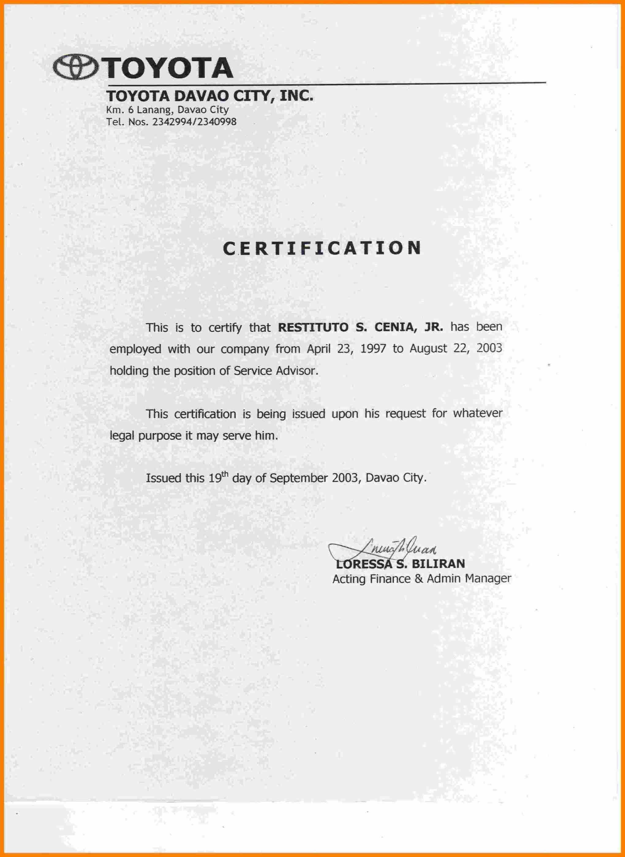 Certificate Employment Template  Weekly Template For Certificate Of Employment Template