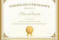 Certificate Excellence Template Gold Border Vintage Ideas Unique with Certificate Of Excellence Template Word