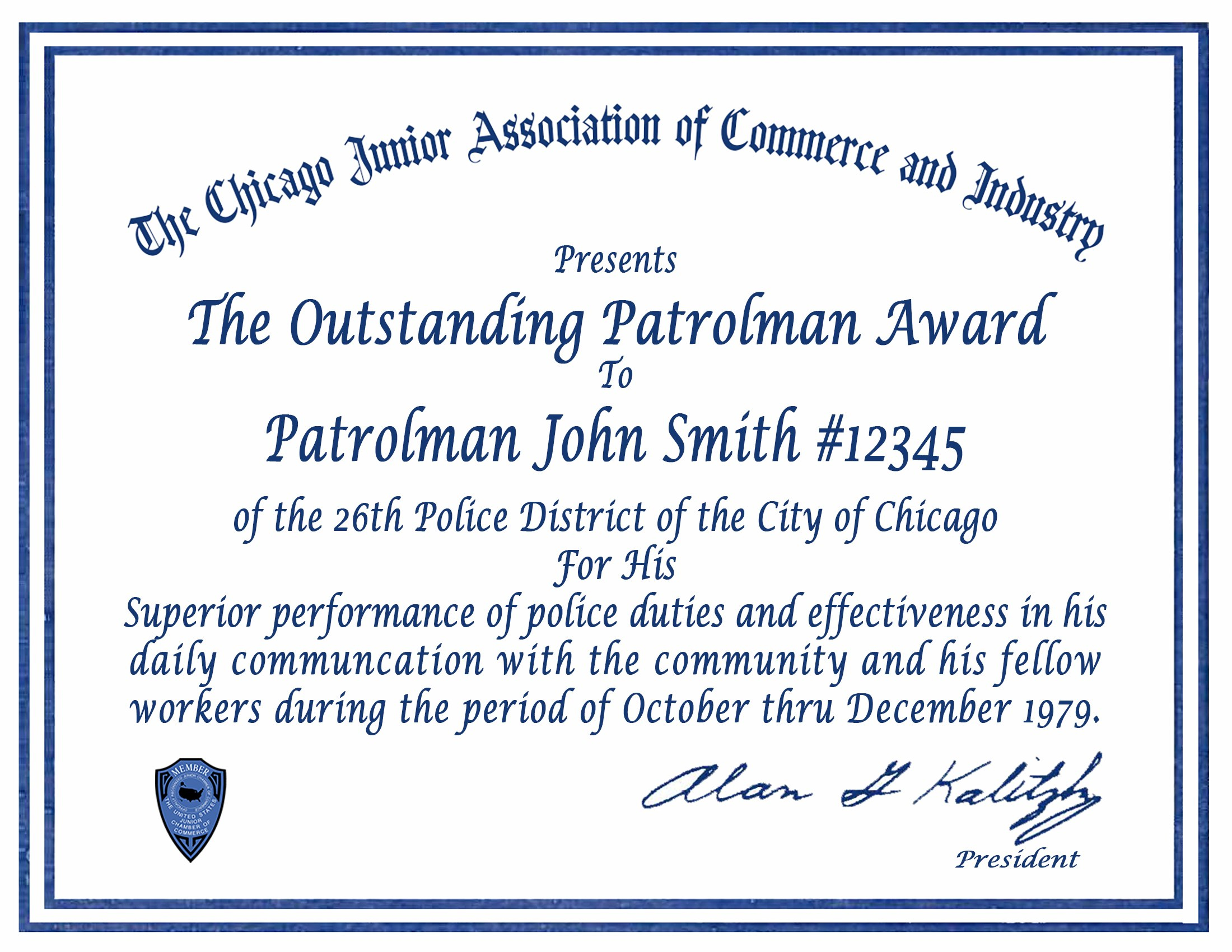 Certificate  Letter Awards  Chicagocop Pertaining To Life Saving Award Certificate Template
