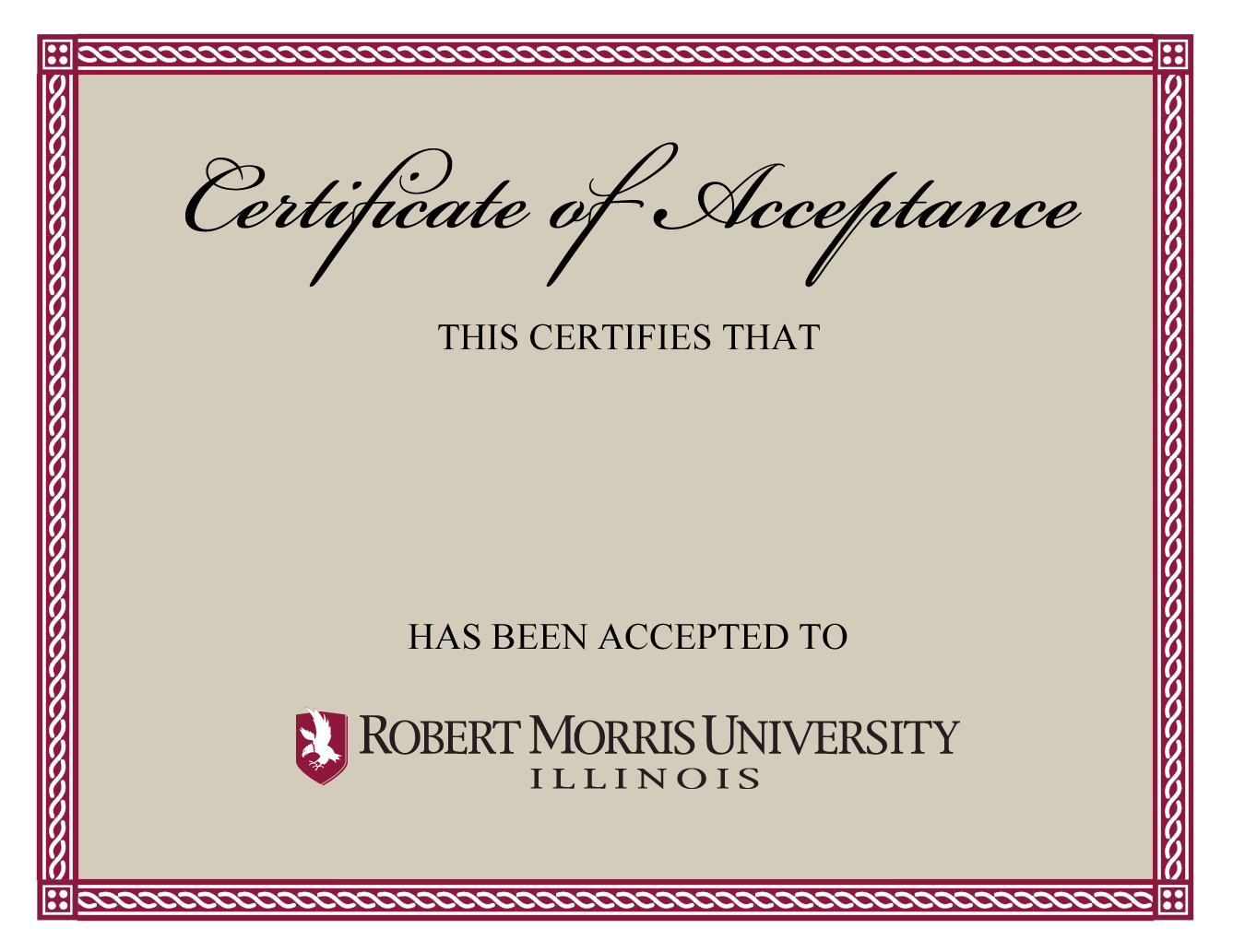 Certificate Of Acceptance Templates  Free Printable Word  Pdf Inside Certificate Of Acceptance Template