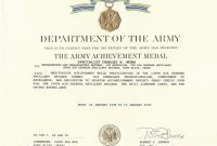 Certificate Of Achievement Army  Sansurabionetassociats In Army Good Conduct Medal Certificate Template