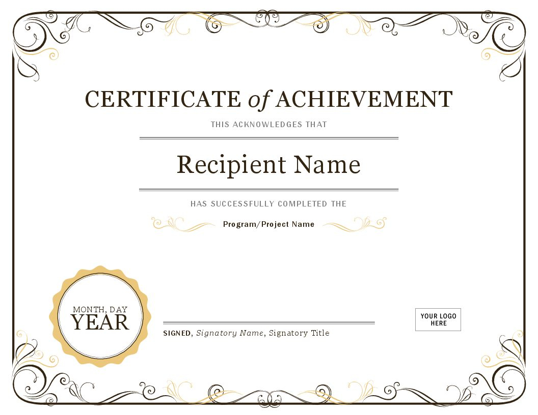 Certificate Of Achievement Throughout Certificate Templates