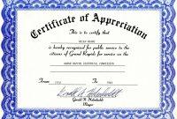 Certificate Of Appreciation  Certificates  Free Certificate within Gratitude Certificate Template