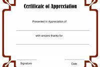 Certificate Of Appreciation Template Blank with regard to Thanks Certificate Template