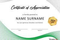 Certificate Of Appreciation Template For Donations with regard to Donation Certificate Template