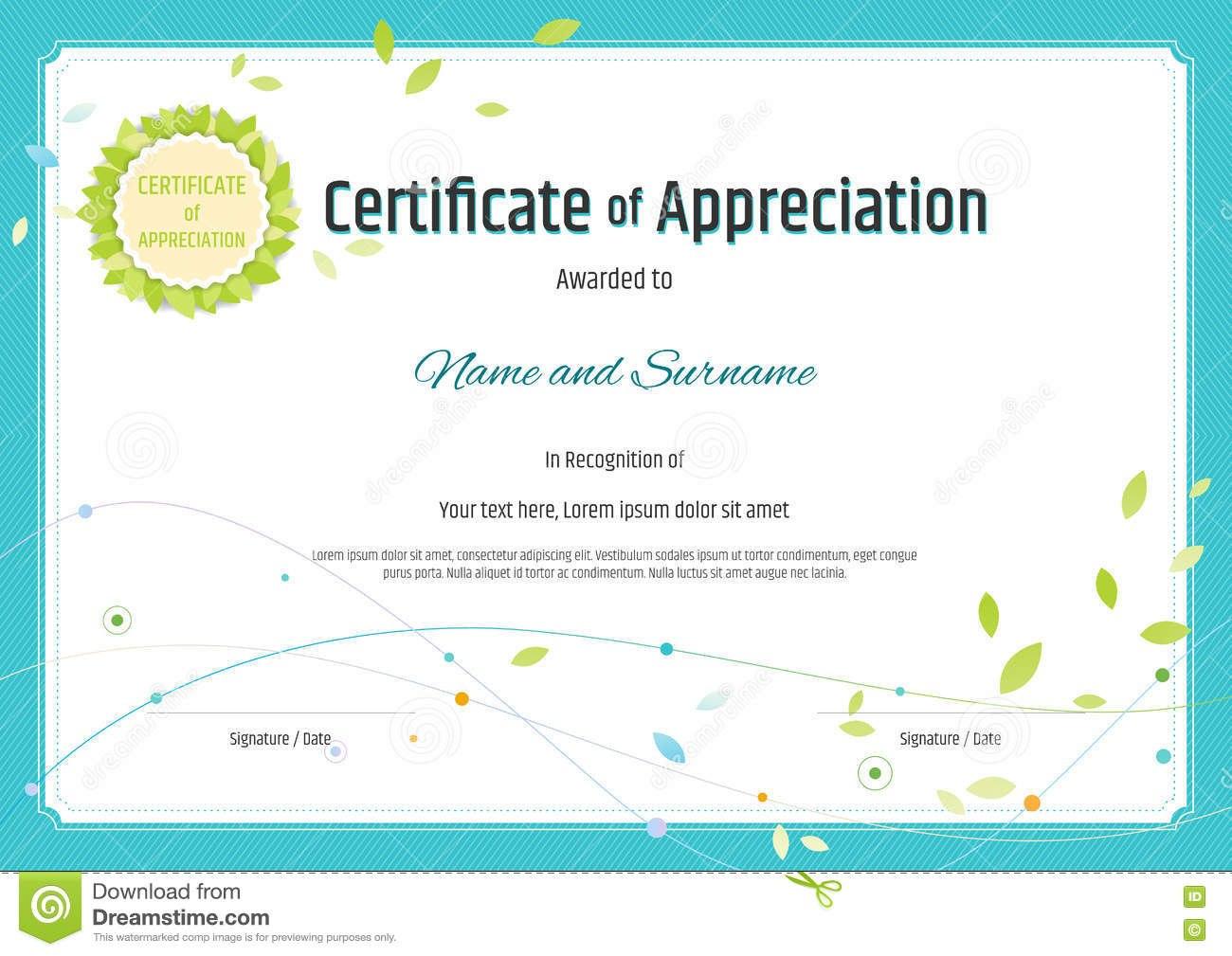 Certificate Of Appreciation Template In Nature Theme With Green For Free Certificate Of Appreciation Template Downloads