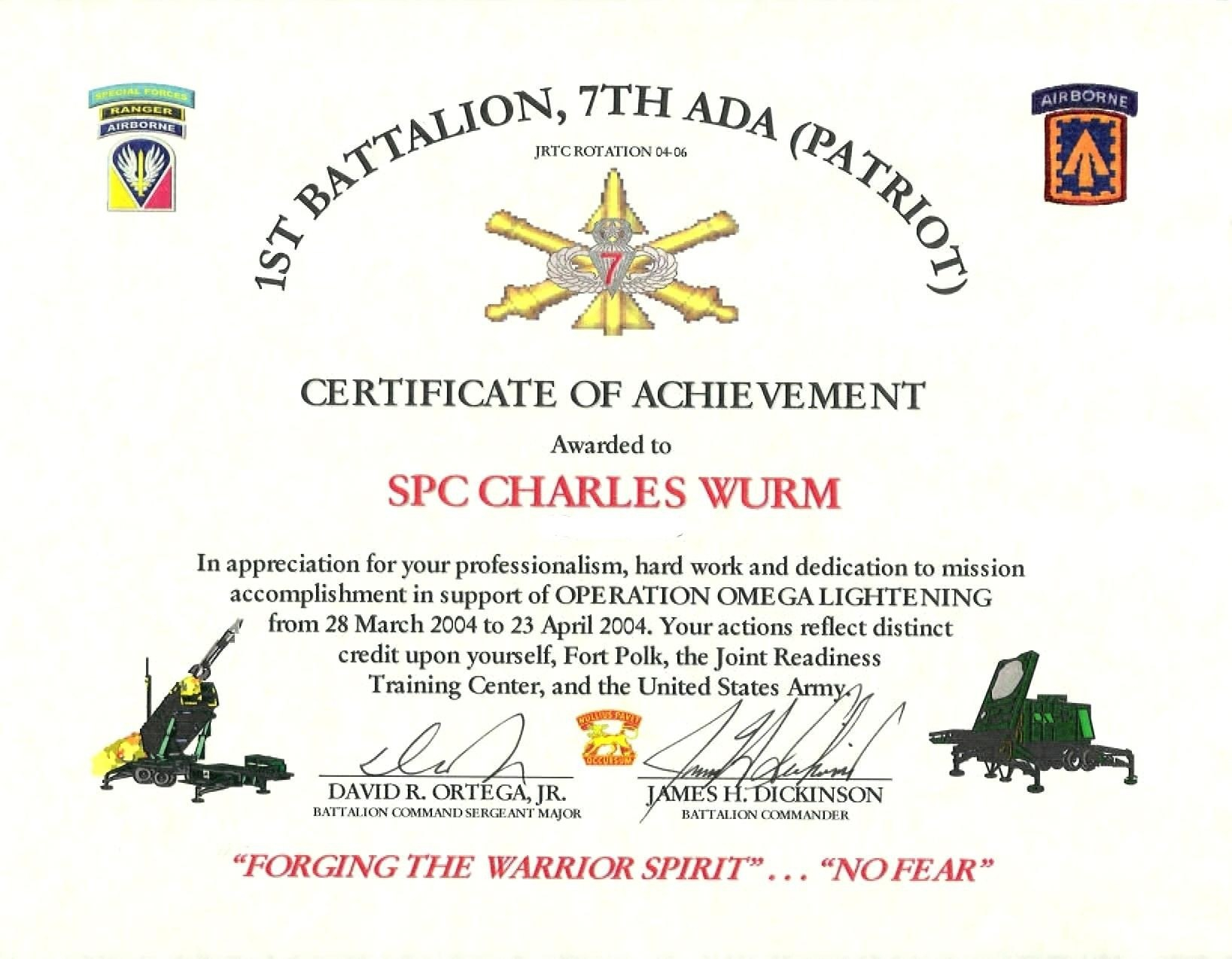 Certificate Of Appreciation Template Word  Free Templates And With Regard To Army Certificate Of Achievement Template