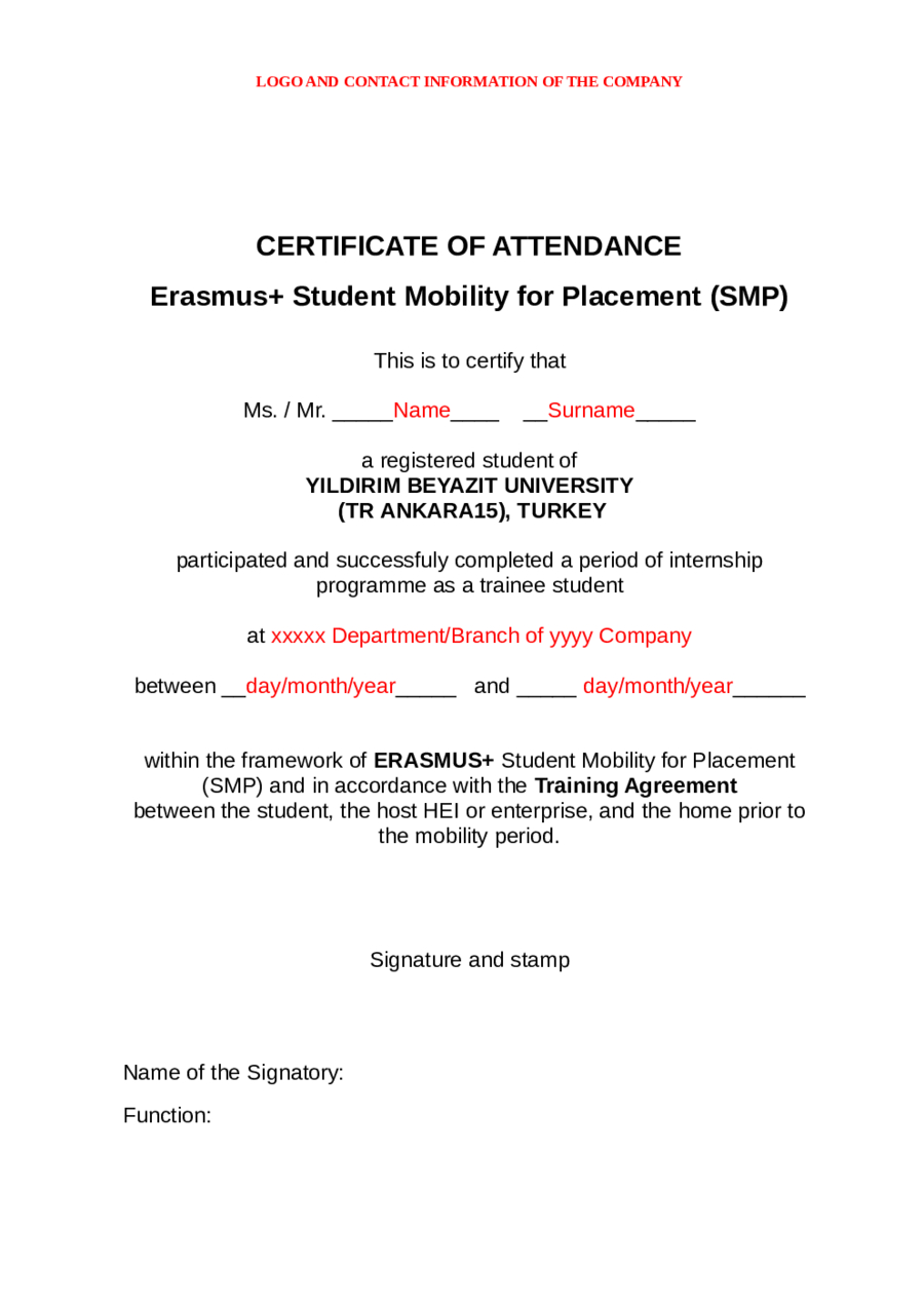 Certificate Of Attendance  Fillable Printable Pdf  Forms Regarding Conference Certificate Of Attendance Template