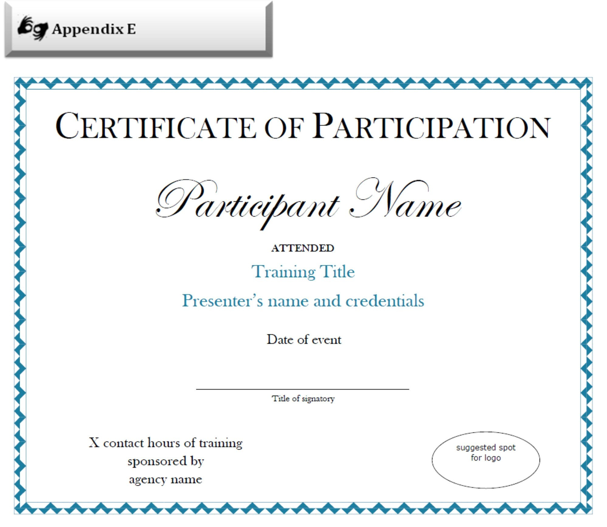 Certificate Of Attendance Template Word Doc For Certificate Of Participation Template Doc