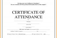 Certificate Of Attendance Word Template  Weekly Template inside Certificate Of Participation Template Pdf