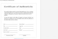 Certificate Of Authenticity Templates – Free Samples  Examples regarding Certificate Of Authenticity Template